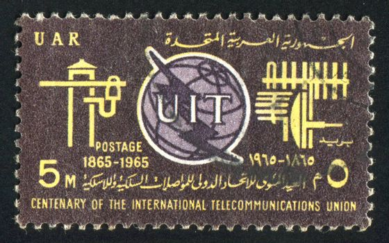 EGYPT - CIRCA 1965: stamp printed by Egypt, shows ITU Emblem, Old and New Communication Equipment, circa 1965