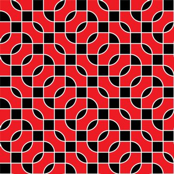 Seamless geometric vector pattern - red and black