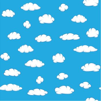 White clouds on blue sky - vector seamless texture