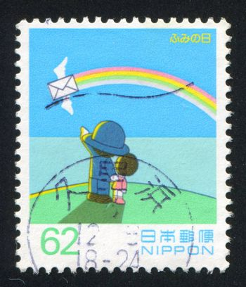 JAPAN - CIRCA 1993: stamp printed by Japan shows People, Letter, Rainbow, circa 1993