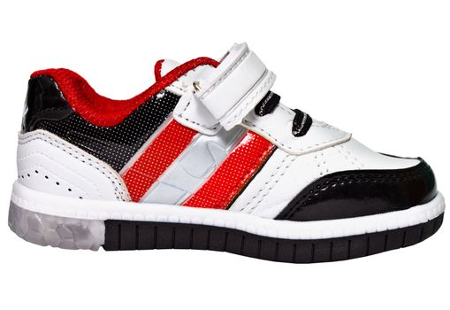 Chinese sneaker with red stripes isolated on white background