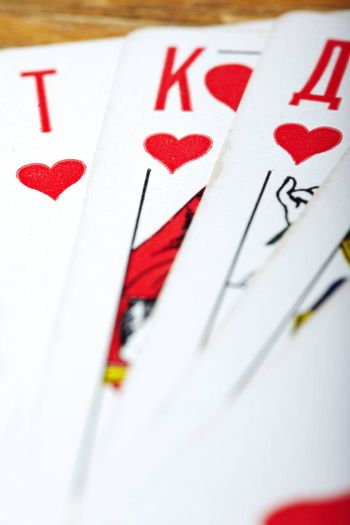Set of the heart cards. Close-up photo with shallow depth of field for natural view