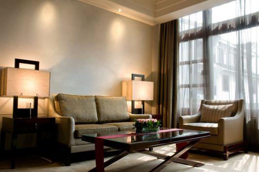 Suite living room of a elegant 5 star luxury hotel