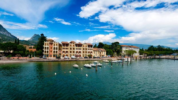 Lago di Garda in Italy in early spring, landscape country side lake water