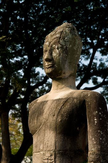 Buddha staue resting under a tree in Aytthaya. Ayutthaya city is the capital of Ayutthaya province in Thailand. Its historical park is a UNESCO world heritage.