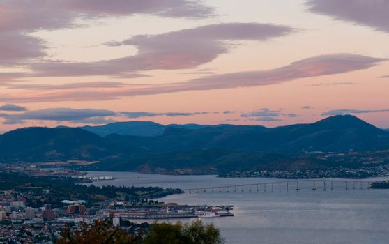 Hobart harbour, during sunset, panorama