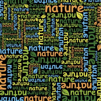 Background made of words the nature. A vector illustration