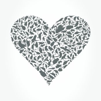 Grey heart collected from birds. A vector illustration