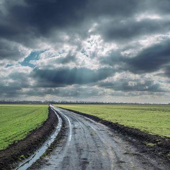 dirty road to cloudy horizon. rain before