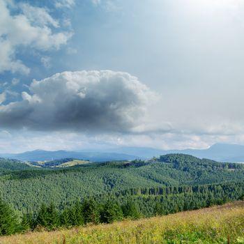 soft lights clouds and green mountains. Ukrainian Carpathians