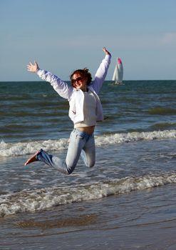 Happy woman enjoying