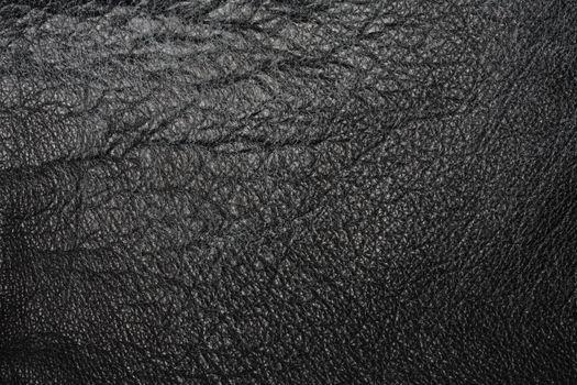 Worn black leather