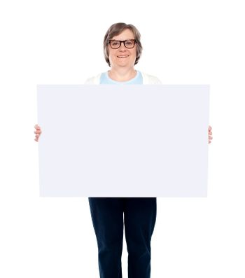 Aged woman displaying blank poster