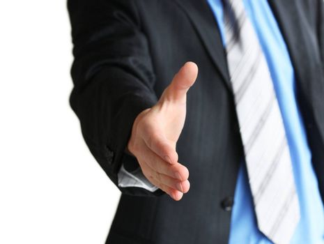 Young business man giving hand for handshake