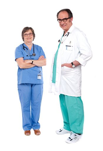 Smiling and relaxed medical professionals