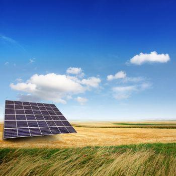 Solar panels generate electricity on a sunny day
