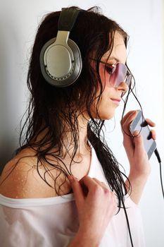 woman in phones