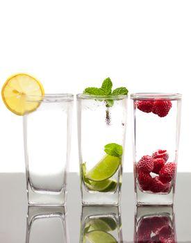 Three colorful  alcoholic drinks