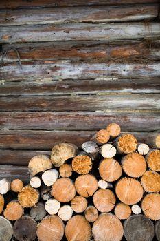Logs at wall