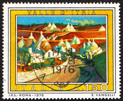 ITALY - CIRCA 1976: a stamp printed in the Italy shows Itria Valley, Apulia, Italy, circa 1976