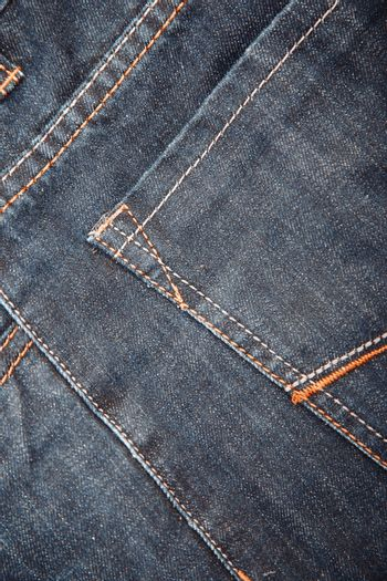 Pocket of the jeans. Close-up photo