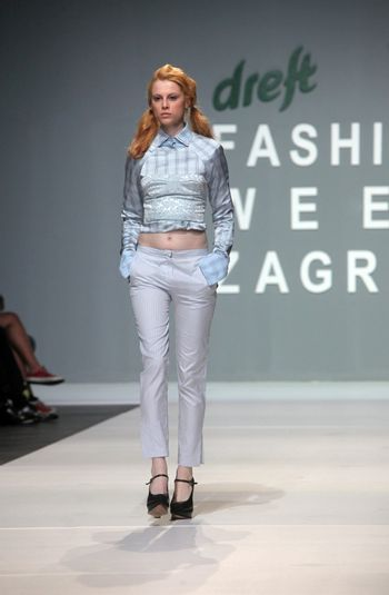 "ZAGREB, CROATIA - MAY 12: Fashion model wears clothes made by MAARTEN VAN DER HORST on ""ZAGREB FASHION WEEK"" show on May 12, 2012 in Zagreb, Croatia."