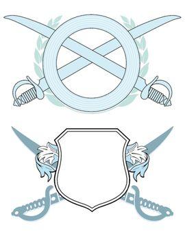 Emblem with hand tools