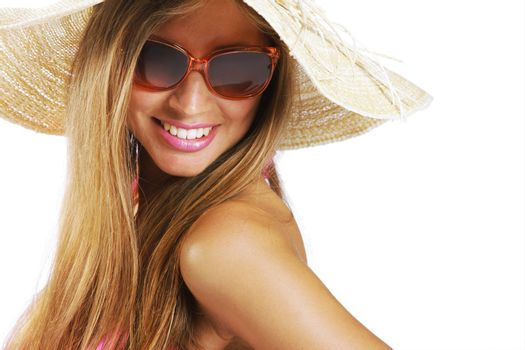 Summer time: Young woman portrait on white background, copy space