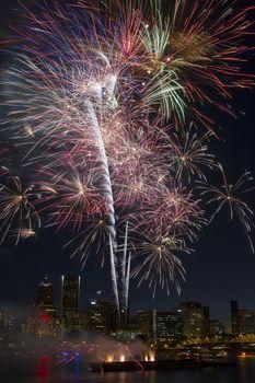 Multi-Color Fireworks Display Over Portland Oregon Skyline