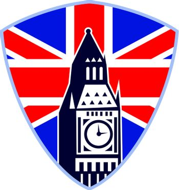 Retro illustration of a London big ben clock tower with union jack  british great britain flag in background set inside shield on isolated white background.