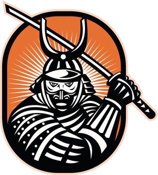 Retro illustration of a samurai warrior brandishing katana sword facing front  set inside ellipse.