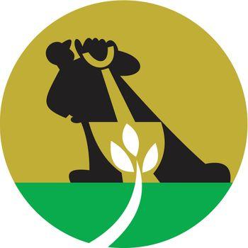 Illustration of a male gardener landscaper with shovel digging leaf plant.