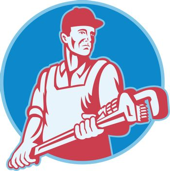Retro illustration of a plumber worker carrying a giant adjustable monkey wrench viewed from front set inside circle on isolated white background.
