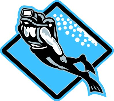 Retro illustration of a scuba diver diving swimming up underwater set inside diamond shape done in woodcut style.