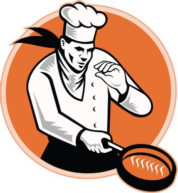 Retro illustration of a chef cook cooking with frying pan set inside circle on isolated white background.
