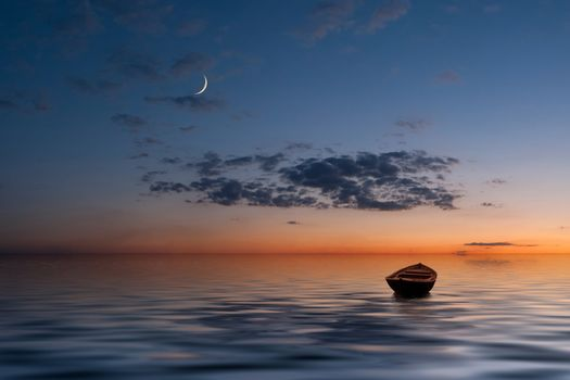 The lonely old boat at the ocean, evenig sky with moon and clouds on background