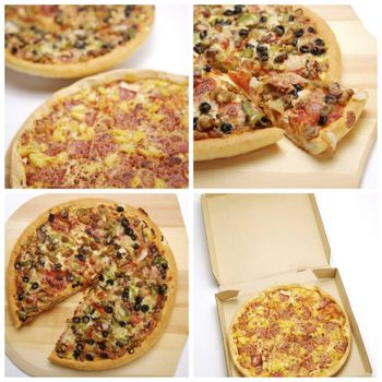 collage of four different full sized image of pizza