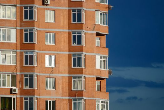 Architectural abstract of modern multi apartments building in a