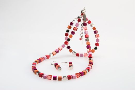 Colorful necklace, bracelet and earrings