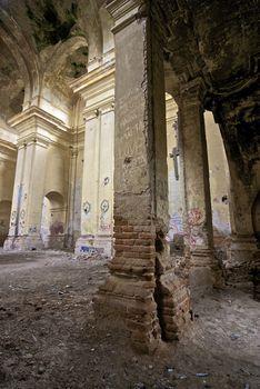 indoor shot of a church in ruins