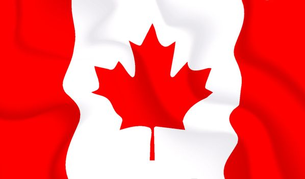 Satin Canada waving flag, eps10 vector illustration