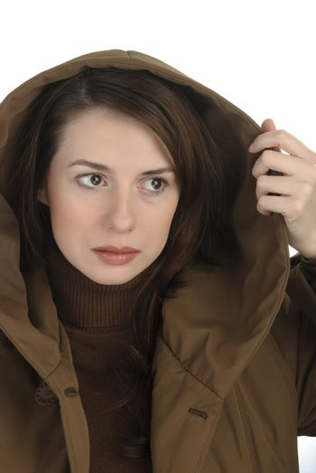 Young woman  in hood