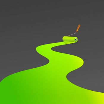 Shiny green color painting winding track by roller