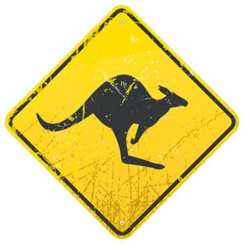 Damaged classic yellow Kangaroo roadsign with dust and scratches
