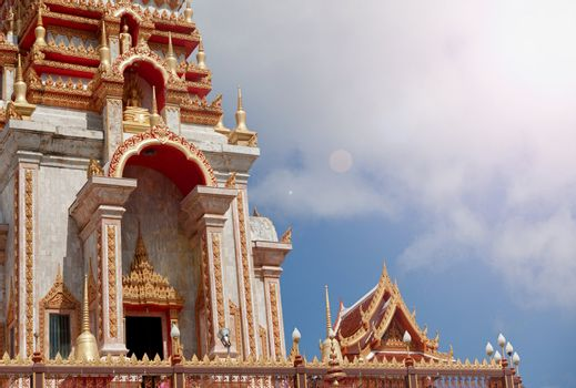 Detail of building in a Buddhist temple. Wat Chalong, Thailand; Phuket