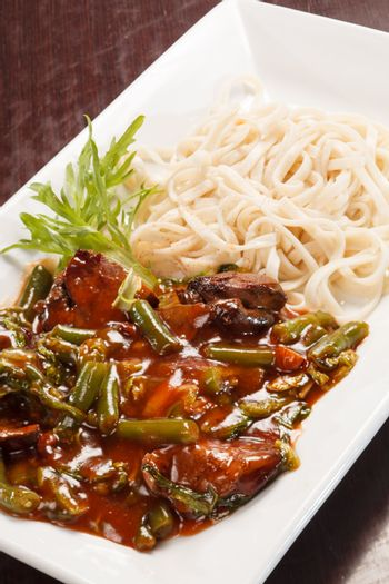 udon with meat and vegetables