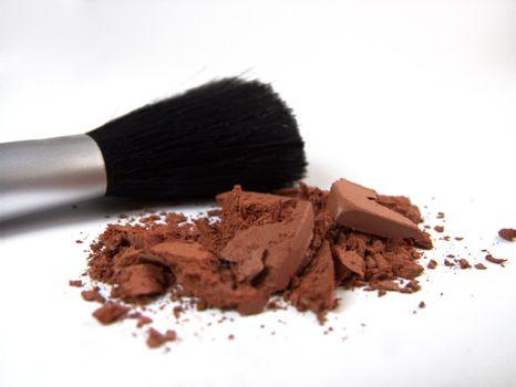Crashed makeup and brush