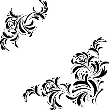 abstract floral frame in black and white, copyspace