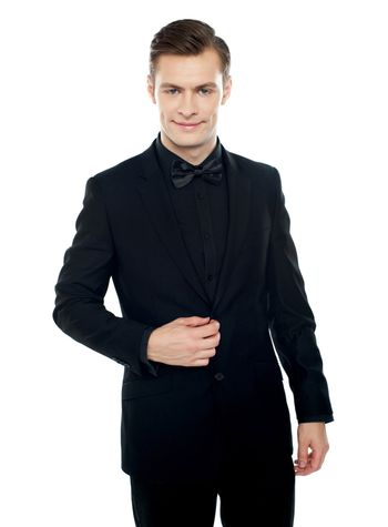 Smiling young man in party wear attire