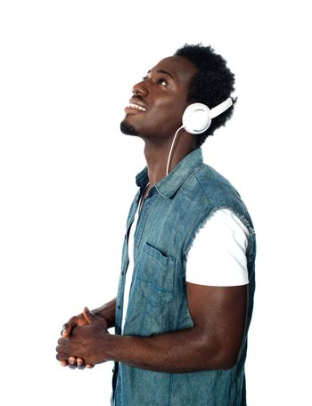 African guy lost in musical world